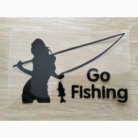 Наклейка на авто-мото Девушка на рыбалке Черная