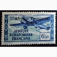 Франция - колонии 1940 -1941 Airmail - Airplanes Sts of 1937 Overprinted Afrique Franc