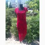Вязаное красное платье (на основе филейной салфетки). Ручная работа крючком