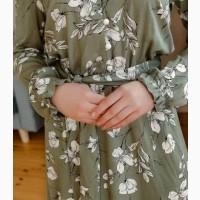 Зеленое женское платье цветочный принт