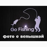 Наклейка На рыбалку Белая светоотражающая