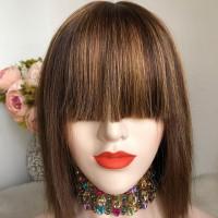 Парик натуральный 92 - качественный парик из 100% натуральных волос с челкой