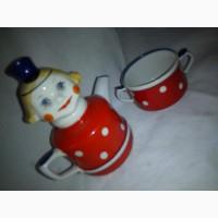 ДЕТСКИЙ ФАРФОРОВЫЙ чайник и чашка, клеймо 1970 г. КОРОСТЕНЬ