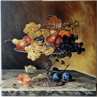 Картина Натюрморт с фруктами (холст. масло, 40х40 см)
