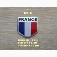 Наклейка на авто Флаг Франция алюминиевая на авто или мото