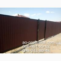 Профнастил коричневого цвета RAL 8017 РЕМА для забора, Профлист матовый коричневый 8017