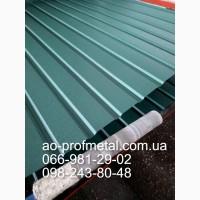 Профнастил зеленого цвета ПС-15 RAL 6005 матовый, Профлист зеленый матовый ПС-15