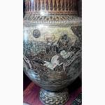 Большая ваза с крышкой 1м.14см.Гончарная работа(глина).Ручная роспись