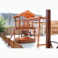 Детские деревянные игровые домики, площадки и комплексы